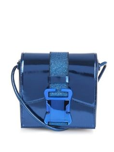 e380a8f4af05 Mini Safety Buckle metallic-leather shoulder bag