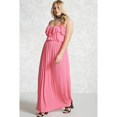Forever21 Plus Size Ruffled Maxi Dress ($18) ❤ liked on Polyvore featuring plus size women's fashion, plus size clothing, plus size dresses, bubble gum, strappy dress, cami maxi dress, cami dresses, ruffle dresses and forever 21 dresses