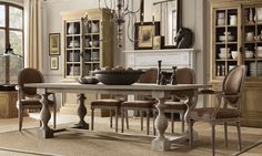 French chairs w/ rustic 17th century style dining table