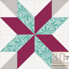 "Piece N Quilt: How to: Constellation Quilt Block - 30 Days of Sewing Quilt Blocks (This block will finish at 12""x12"" square.) You will need the following fabrics: Teal - 3 1/8 yards Plum - 3 1/8 yards Gray - 1 5/8 yards White - 4 5/8 yards"