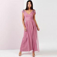 Little Mistress Rose embellished drape shoulder maxi dress | Debenhams