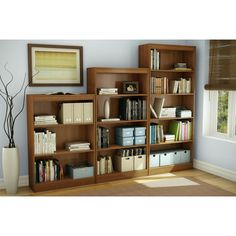 South Shore Axess Four Shelf Bookcase in Morgan Cherry