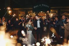 A big sparkler send-off for the happy newlyweds! Photo Credit - Our Two Hearts