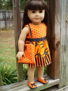 American Girl Doll Clothes, Halloween doll dress shoes purse, American Girl Doll Dress, Black & Orange doll dress, handmade doll dress - pinned by pin4etsy.com