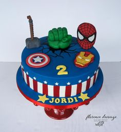 Avengers Birthday Cakes, Superhero Birthday Cake, 4th Birthday Cakes, Birthday Ideas, Pastel Avengers, Fete Laurent, Hulk Cakes, Batman Cakes, Marvel Cake
