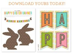 Free Printable Easter Banner, Cute Easter Decoration, home decor, printable paper crafts, ostern basteln