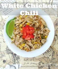 This easy and satisfying meal comes together so FAST! You can make on the stove or the slow cooker and know that a healthy dinner is on the way to your family! Simple and delicious, the whole family will enjoy white chicken chili as a warm meal on a cool Slow Cooker Recipes, Crockpot Recipes, Soup Recipes, Chicken Recipes, Dinner Recipes, Cooking Recipes, Healthy Recipes, Healthy Meals, Dinner Ideas