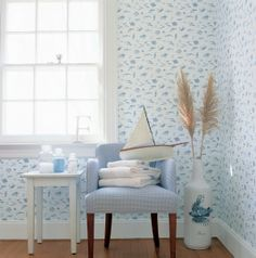 Something Fishy #wallpaper in #white from the Seaside collection. #Thibaut. Contact 13 Design Lane Interiors for purchase information.