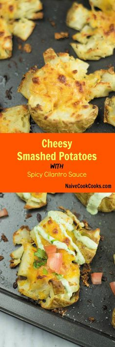 These cheesy garlic smashed potatoes - makes for an addicting side dish, I end up eating these way more than main meal!! Easy Delicious Dinner Recipes, Best Vegetarian Recipes, Yummy Snacks, Easy Recipes, Easy Meals, Potato Gnocchi Recipe, Potato Pasta, Gnocchi Recipes, Potato Side Dishes