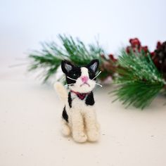 #Needle #felted #cat #Black and #white #cat #ornament by CraftsByKeri, $25.00
