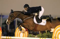 Richard Spooner and Cristallo over the final oxer in the jump-off to win last night in $100k - interesting eq