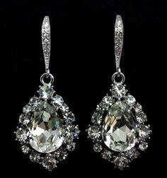 Classic Oval Bridal Earrings, Swarovski Wedding Jewelry, Custom Colors, Sterling Silver, BIJOUX