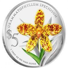 "Singapore Mint Grammatophyllum Speciosum 2011 ""Native Orchids of Singapore"" Series 1 oz silver proof coin"