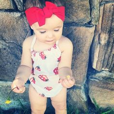 What a cute baby romper, strap design and ladybird print, well fit for baby...