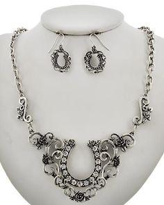 An Elegant Floral Horse Show Necklace & Earring Set