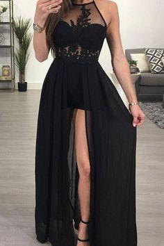 A-line Halter Black Chiffon Sexy Long Prom Dresses Evening Dress PG420