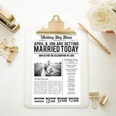 A personal favorite from my Etsy shop https://www.etsy.com/listing/279040336/customized-wedding-newspaper