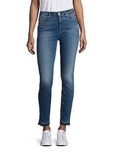 7 For All Mankind b(air) Denim High-Waist Raw Hem Skinny Ankle Jeans