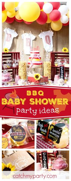 Take a look at this fantastic Backyard Baby-que Baby Shower! The onsie garland backdrop is adorable! See more party ideas and share yours at CatchMyParty.com