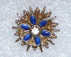Vintage Signed Coro Pin Brooch Blue Faux Pearls Goldtone