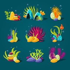 Buy Set of Cartoon Algae Elements for Aquarium by Top_Vectors on GraphicRiver. Set of cartoon algae, elements for aquarium decoration. Cartoon Drawings, Underwater Art, Character Design, Art Drawings, Drawings, Painting, Illustration Art, Art, Cartoon Fish