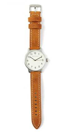 Desu 42.5mm Men's watch by TOKYObay. Rugged, thick suede leather strap, with…