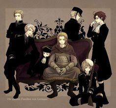 The German boys from left to right back to front: Germany, Prussia, HRE, Germania, Sweden, Switzerland, and Austria