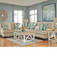 Sandy Beige and Blue Living Room  http www beachblissdesigns   Coastal Living Room Ideas  Lochian Sofa by Ashley Furniture at Kensington  Furniture  I love. Coastal Living Room. Home Design Ideas