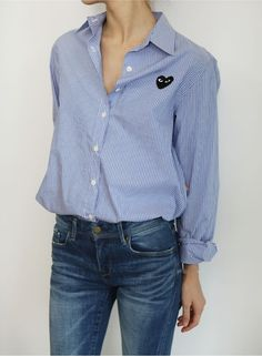 Blue striped button down shirt by Comme des Garsons  TheyAllHateUs | Page 10