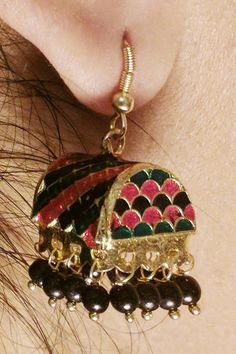 Gorgeous gold, Rani, and emerald colored jhumki hanging earrings by AmeliorLLC on Etsy
