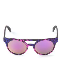 Shop ITALIA INDEPENDENT  leopard print sunglasses from Farfetch