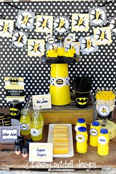 black and yellow batman party