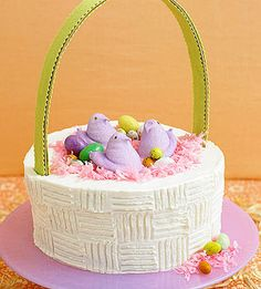 Easter CAKE RECIPES | Easter-Basket Cake - Recipe.com  Peeps have always been part of my easter celebrations with my family.  when I was a kid my aunt would always make sure the peeps were invited to the party for a little added Easter fun!  Thanks Aunt Nancy for making Easter extra special for us.