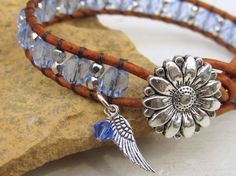 Blue Beaded Leather Bracelet ~ Beaded Wrap Bracelet ~ Daisy Button Country Chic Rustic Chic Boho Bohemian Angel Wing Bracelet for Her by AnnieExpressions on Etsy