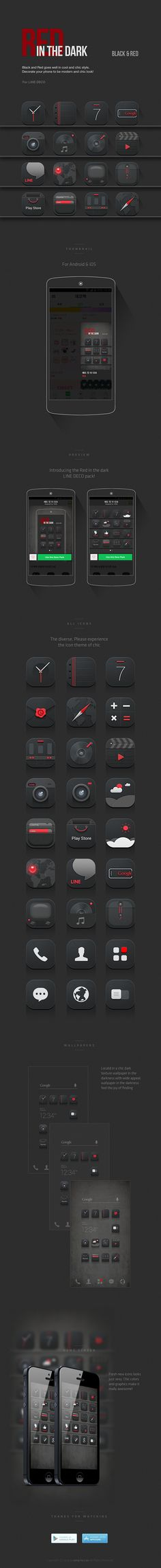 [NHN_CAMP MOBILE] Red in the dark icon set design on Behance