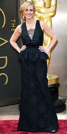 """Are you playing the """"take a sip every time you see peplum or lace"""" game? Well, throw back two gulps because Julia Roberts combines both trends via her deep-V black gown. http://www.peoplestylewatch.com/people/stylewatch/package/gallery/0,,20768377_20792536,00.html#30112057"""