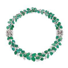 Lot 278 - Platinum, Emerald and Diamond Necklace-Bracelet Combination, France, Circa 1930