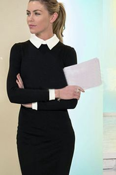 Replicate this look with a Classic Black and White Dress f/ Black Cotton Blend Knee Length Pencil Dress