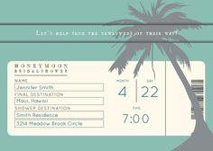 Honeymoon- Bridal Shower Invitations by Basic Invite Honeymoon Bridal Showers, Honeymoon Fund, Best Honeymoon Destinations, Cheap Honeymoon, Wedding Destinations, Honeymoon Ideas, Destination Wedding, Wedding Shower Invitations, Invites