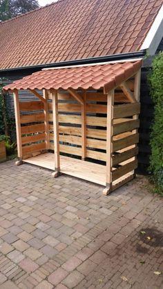 Outdoor Firewood Rack, Firewood Shed, Firewood Storage, Diy Storage Shed, Wood Storage Sheds, Fire Pit Backyard, Backyard Patio, Log Shed, Vintage Bedroom Decor