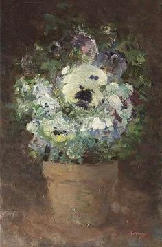 Nicolae Grigorescu (Romanian, Panseluțe (Pansies), Oil on canvas. Sweet Magic, Sweet Violets, Classic Paintings, High Art, Blue Art, Sculpture, Famous Artists, Pansies, Art Forms