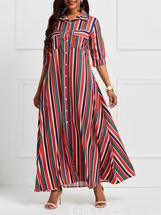 Ericdress Polo Neck Patchwork Pocket Stripe Maxi Dress Stylish Dresses For Girls, Stylish Outfits, Girls Dresses, Dress Outfits, Girl Outfits, Fashion Outfits, Long Skirt And Top, Ethiopian Dress, Cotton Long Dress
