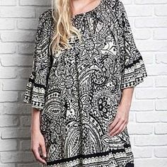 Umgee+ Paisley Shift Tunic Off Shoulder Plus Size Top by Baretreesboutique on Opensky