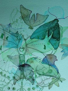Lepidoptera In The Blue by Colleen Parker, via Flickr  watercolour and ink.