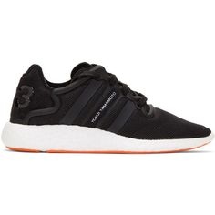 Y-3 Black Yohji Run Sneakers ($255) ❤ liked on Polyvore featuring shoes, sneakers, black, low profile sneakers, lace up sneakers, y3 sneakers, black trainers and black laced shoes