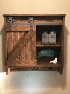 42 Super Creative DIY Bathroom Storage Projects to Organize Your Bathroom on a Budget - The Trending House Barn Door Cabinet, Bathroom Barn Door, Diy Bathroom Decor, Bathroom Styling, Bathroom Storage, Small Bathroom, Rustic Bathroom Cabinet, Rustic Cabinets, Bathroom Cabinets