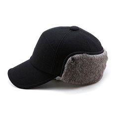 SIGGI Winter Wool Baseball Cap Earflap Fitted Hats Men Soft Faux Fur Hunting  Hat at Cheapcapssmall Men s Hats   Caps store  3e8e3aa16564