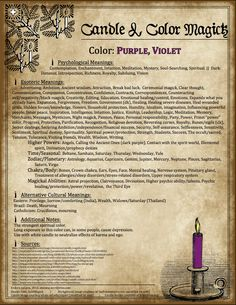 Candles: #Candle & #Color #Magick ~ Purple, Violet.