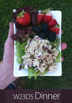July 14th 2013 - W23D5 Dinner - Tuna salad, leafy greens, berries.