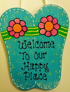 FLIP FLOPS Welcome To Our Happy Place Sign Tiki Bar Pool Hot Tub Beach Plaque Surf Deck Decor Handcrafted Handpainted Summertime